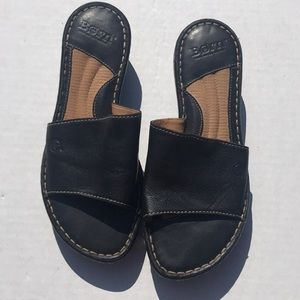Born Concept Black Leather Slide Sandals